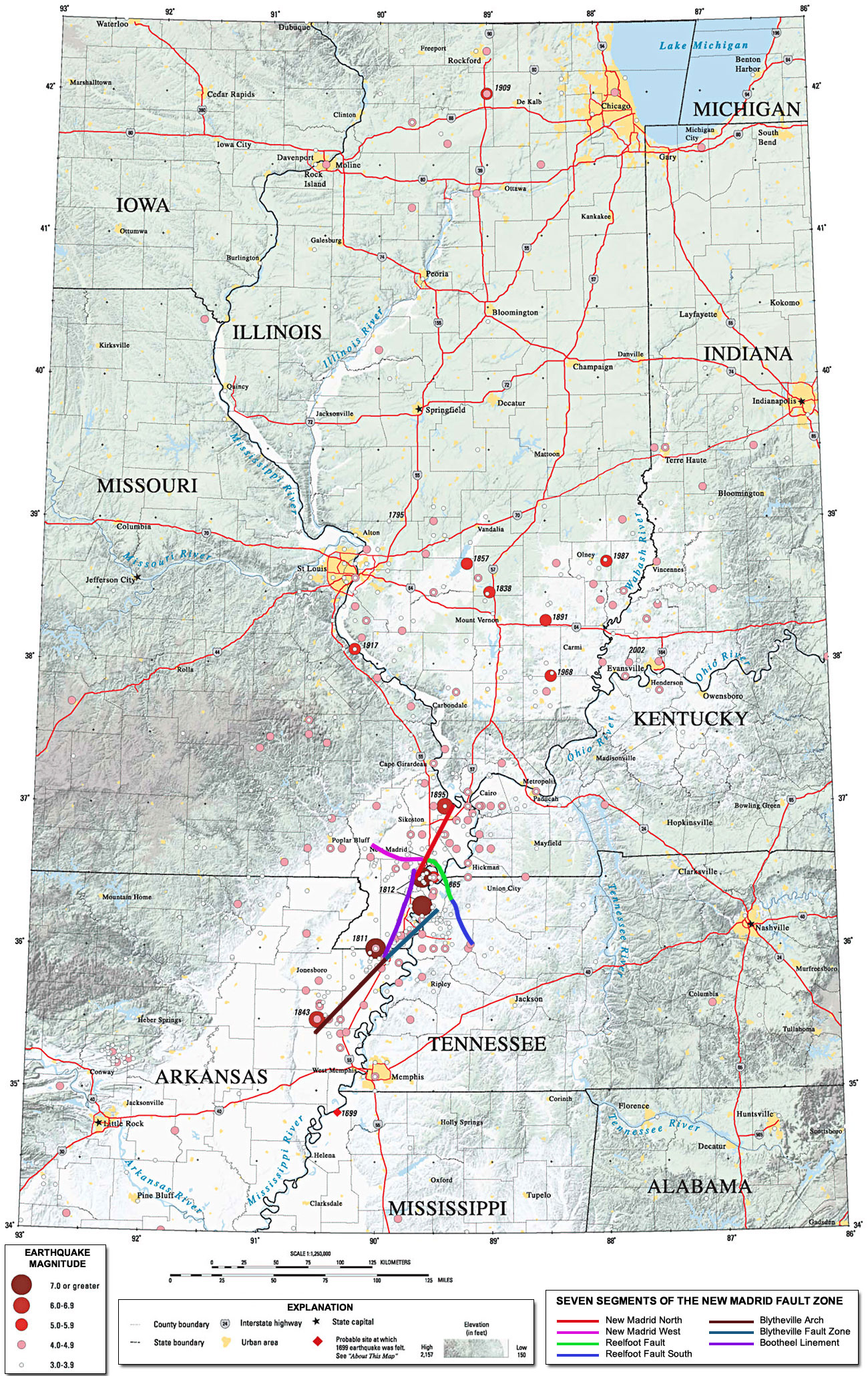 New Madrid Fault Line Map